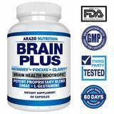 Arazo Nutrition Brain Plus Nootropic Supplement, 60 Count