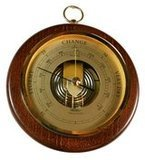Ambient Weather Fischer 1436R-12 Open Face Wood and Brass Barometer
