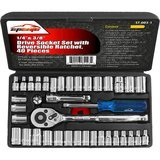 EPAuto 1/4-Inch & 3/8-Inch Drive Socket Set with Reversible Ratchet, 40 Pieces