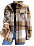 Tanming Brushed Flannel Plaid Shirt Jacket